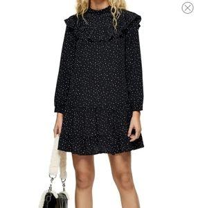 TOPSHOP Black Ruffle Yoke Mini Dress size 4